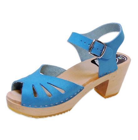 Clog Sandal  Butterfly Blue Nubuck high heel